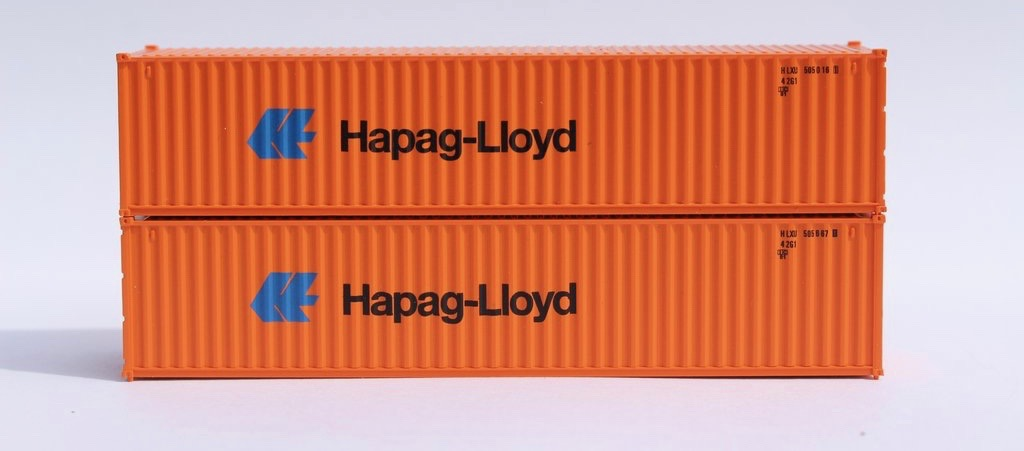 N Scale - Jacksonville Terminal - 405325 - Container, 40 Foot, Corrugated, Dry - Hapag-Lloyd - 2-Pack