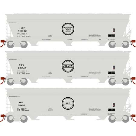 N Scale - Athearn - 12937 - Covered Hopper, 3-Bay, ACF 4600 - Various - 3-Pack