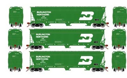 N Scale - Athearn - 12919 - Covered Hopper, 3-Bay, ACF 4600 - Burlington Northern - 3-Pack