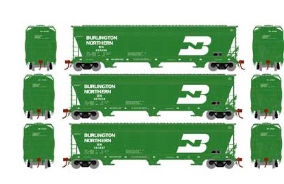 N Scale - Athearn - 12920 - Covered Hopper, 3-Bay, ACF 4600 - Burlington Northern - 3-Pack