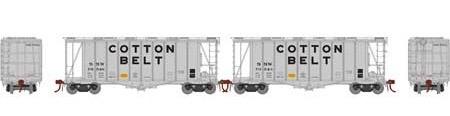 N Scale - Athearn - 23473 - Covered Hopper, 2-Bay, GATX Airslide 2600 - Cotton Belt - 2-Pack