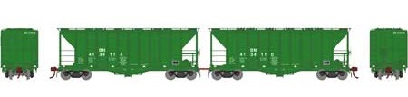 N Scale - Athearn - 23469 - Covered Hopper, 2-Bay, GATX Airslide 2600 - Burlington Northern - 2-Pack