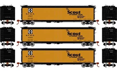 N Scale - Athearn - 2369 - Reefer, 50 Foot, RR-30 - Santa Fe - 3-Pack