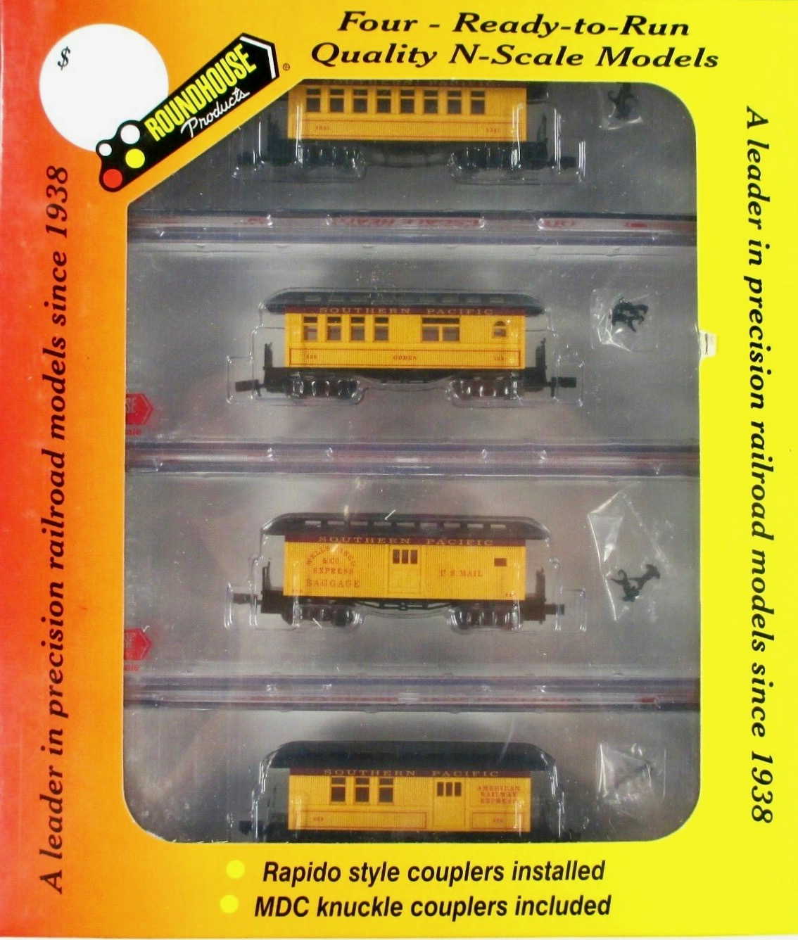 N Scale - Roundhouse - 89431 - Passenger Car, Early, Overton - Southern Pacific - 4-Pack