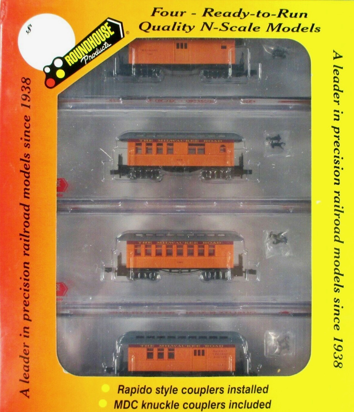 N Scale - Roundhouse - 89429 - Passenger Car, Early, Overton - Milwaukee Road - 4-Pack