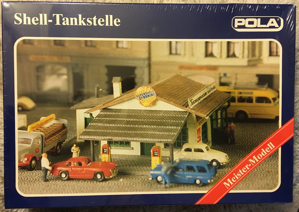 N Scale - Pola - 307 - Gas Station - Commercial Structures - Shell Gas Station