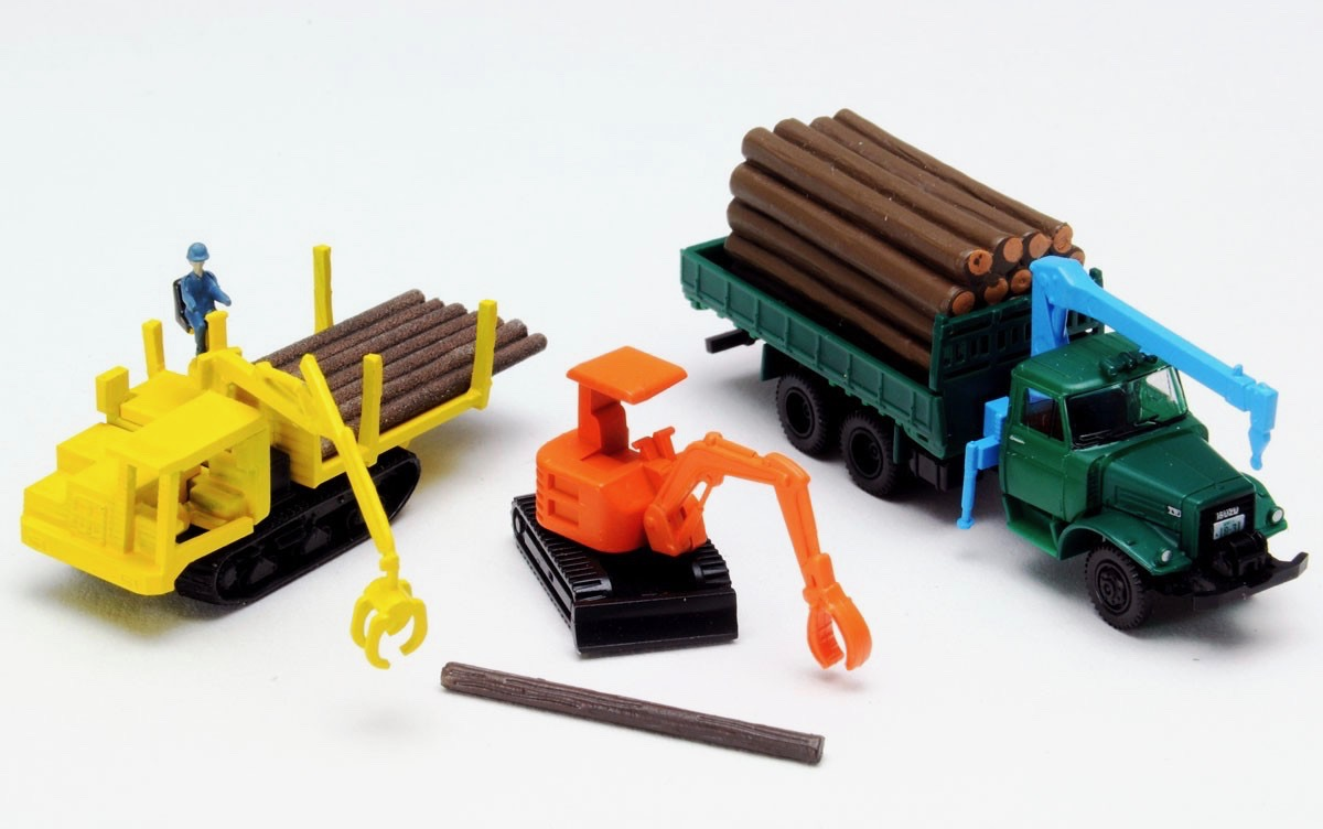 N Scale - Tomytec - 307884 - Vehicle, Truck, Logging - Painted/Unlettered - 3-Pack