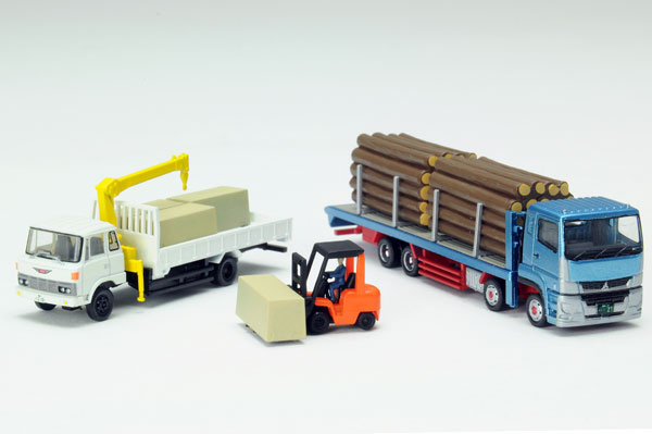 N Scale - Tomytec - 307877 - Vehicle, Truck, Sawmill - Painted/Unlettered - 3-Pack