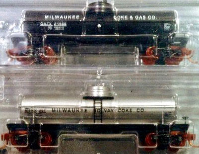 N Scale - Micro-Trains - NSE MTL 13-77 - Tank Car, Single Dome, 39 Foot - Milwaukee Solvay Coke - 2-Pack