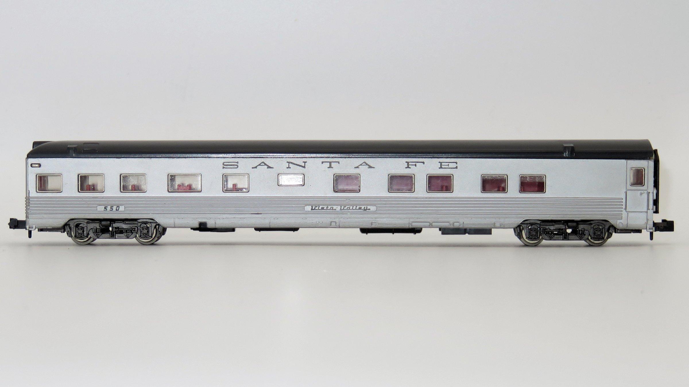 N Scale - Röwa - 8008 - Passenger Car, Pullman, Semi-Corrugated, Observation - Santa Fe - 550
