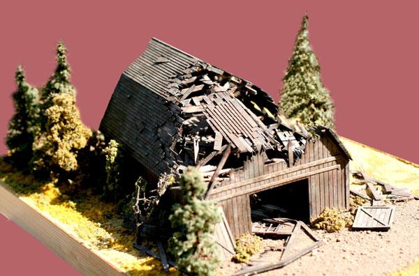 N Scale - Laser-Art - 849 - Agricultural Structures - Fallen Barn