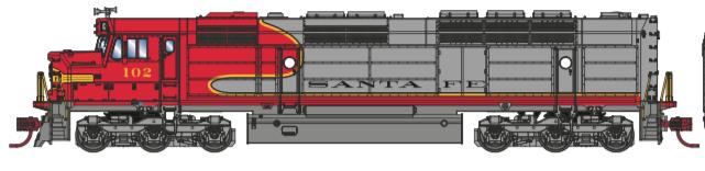 N Scale - Athearn - 15381 - Locomotive, Diesel, EMD FP45 - Santa Fe - 104