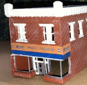 N Scale - Scale Railroad Models - SRM-2036-N - Structure, Building, Commercial, Drug Store - Commercial Structures