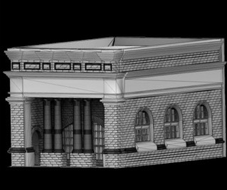 N Scale - Scale Railroad Models - SRM-2037-N - Structure, Building, Commercial, Bank - Commercial Structures