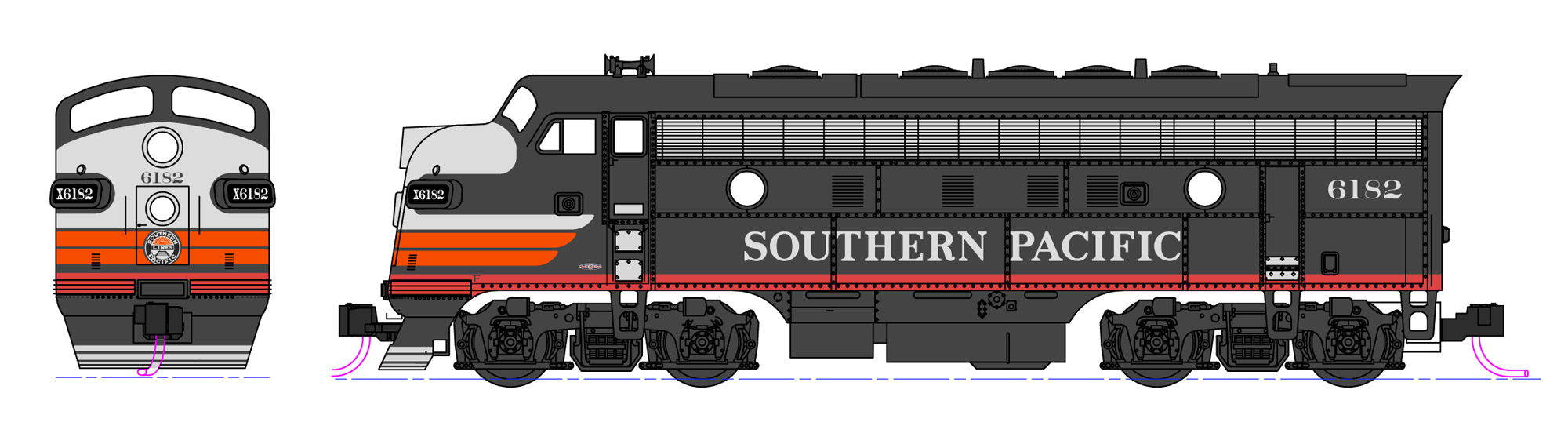 N Scale - Kato USA - 106-0427 - Locomotive, Diesel, EMD F7 - Southern Pacific - 6182 & 8082