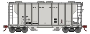 N Scale - Athearn - 17059 - Covered Hopper, 2-Bay, PS2 - Northern Pacific - 76002
