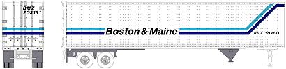 N Scale - Brooklyn Locomotive Works - BLW-PT04 - Trailer, 45 Foot, Pines - Boston & Maine - 203007
