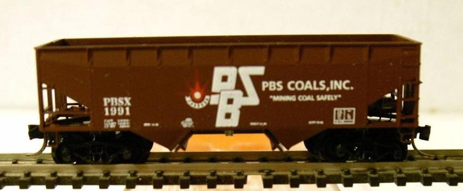 N Scale - Ak-Sar-Ben - 9019 - Open Hopper, 2-Bay, Offset Side - PBS Coals - 1991