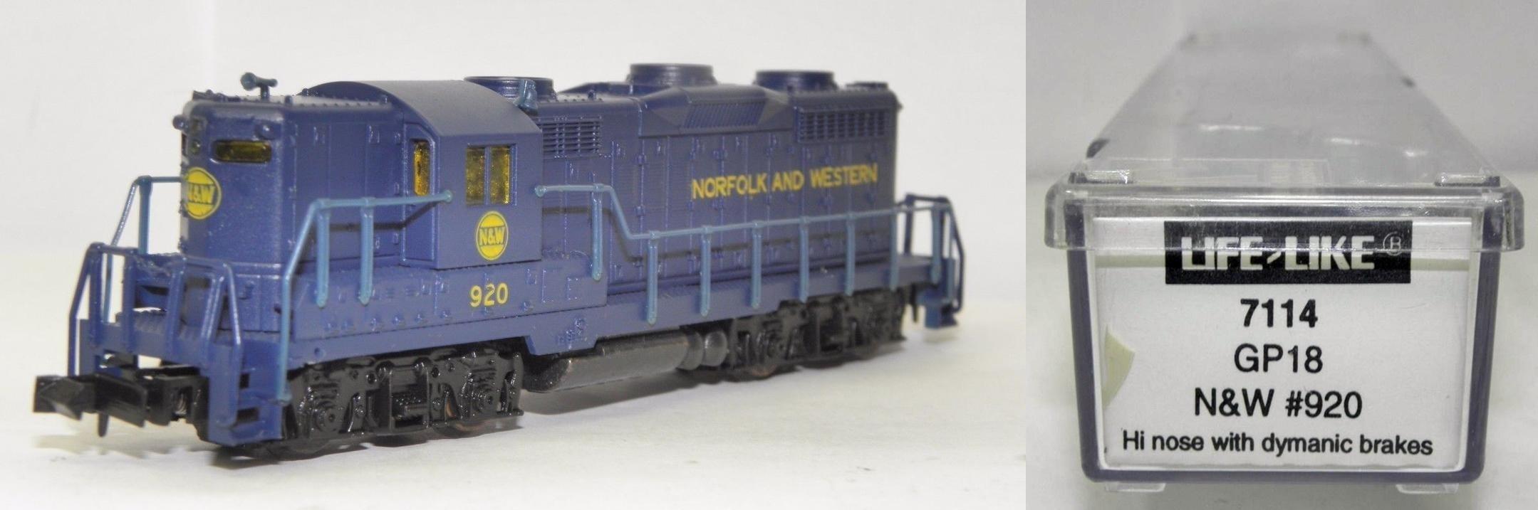 N Scale - Life-Like - 7114 - Locomotive, Diesel, EMD GP18 - Norfolk & Western - 920