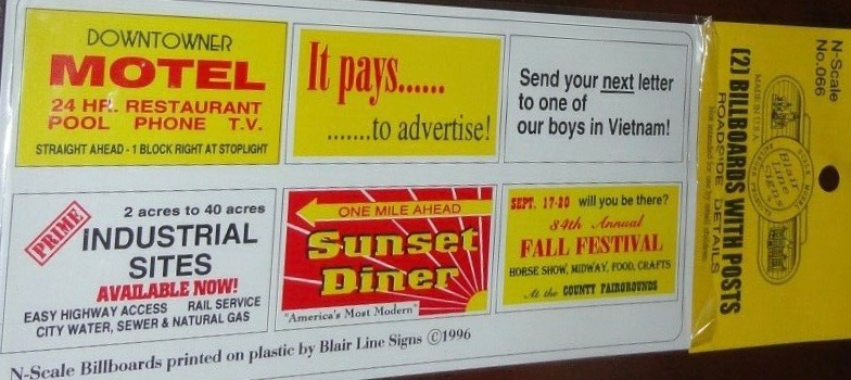 N Scale - Blair Line - 066 - Signs, Commercial, Roadside - Commercial Structures