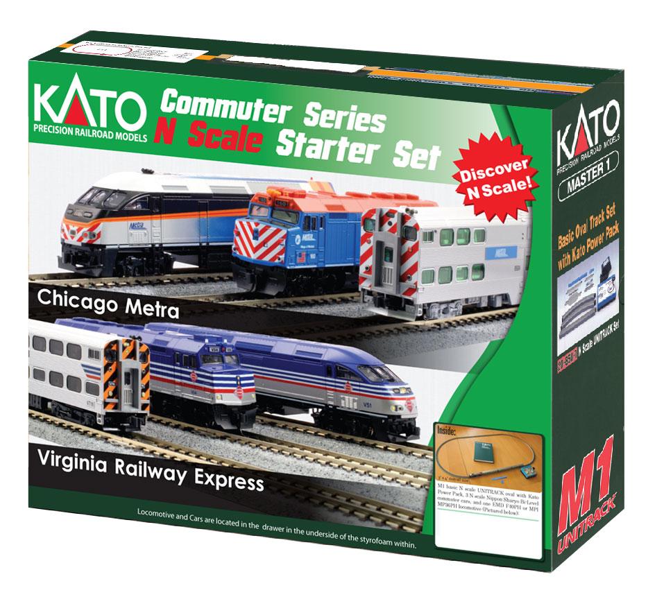 N Scale - Kato USA - 106-0034 - F40PH + Gallery Bi-Level Commuter Train Starter Set - Metra - Virginia Railway Express