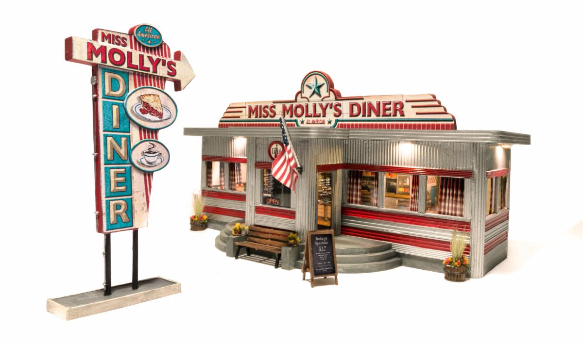 N Scale - Woodland Scenics - BR4956 - Structure, Building, Commercial, Diner, Restaurant - Painted/Lettered - Miss Molly