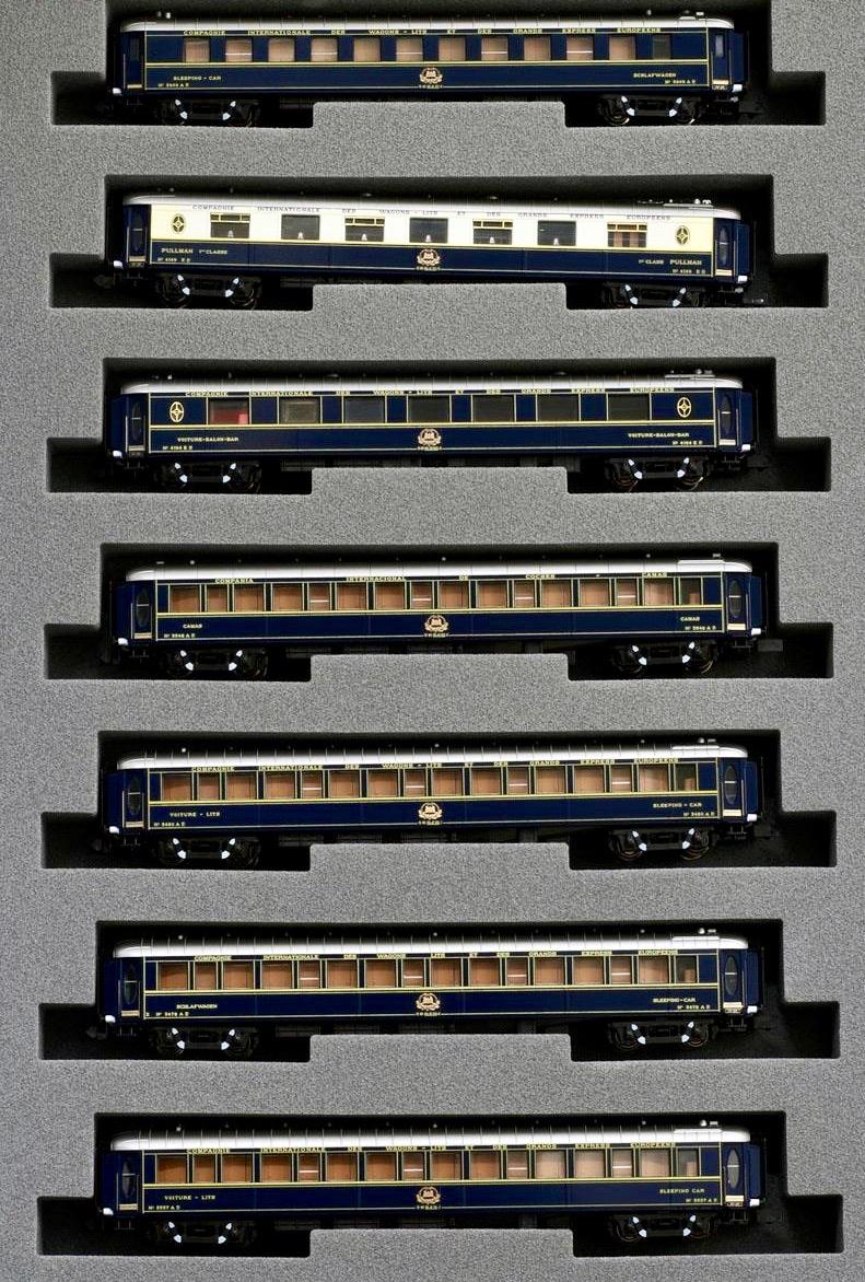 N Scale - Kato Lemke - K23215-2 - Passenger Train, Orient Express, Wagons Lits - Compagnie Internationale des Wagons-Lits - 7 Car Add-On Set