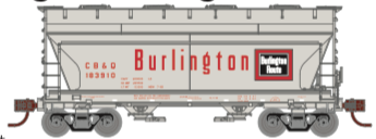 N Scale - Athearn - 24664 - Covered Hopper, 2-Bay, ACF Centerflow - Burlington Route - 3-Pack