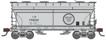 N Scale - Athearn - 24673 - Covered Hopper, 2-Bay, ACF Centerflow - Missouri Pacific - 3-Pack