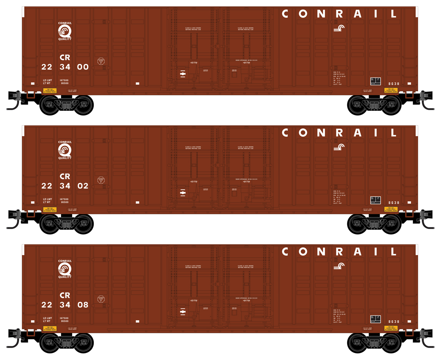 N Scale - Micro-Trains - 993 00 181 - Boxcar, 60 Foot, NSC Excess Height - Conrail - 3-Pack