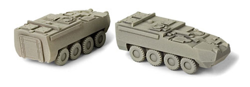 N Scale - Micro-Trains - 499 43 907 - Load, Armored Vehicle,Stryker ICV - Painted/Unlettered - 2-Pack