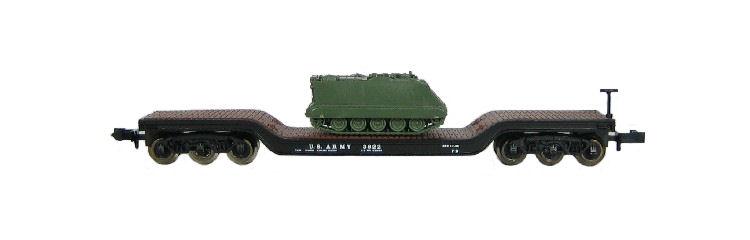 N Scale - Roco - 28152 - Flatcar, Heavy Duty, Depressed Center - United States Army - 3810