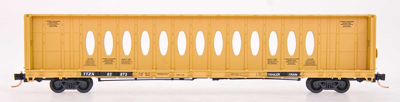 N Scale - Red Caboose - RN-16631-26 - Flatcar, 73 Foot, Centerbeam - TTX Trailer Train - 83825