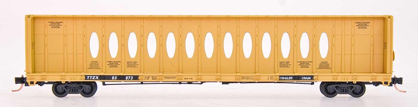 N Scale - Red Caboose - RN-16631-27 - Flatcar, 73 Foot, Centerbeam - TTX Trailer Train - 83830