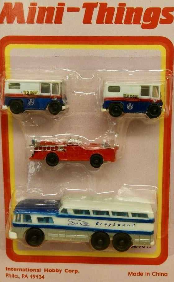 N Scale - IHC - 52-7019 - Vehicle, Mail Truck, Fire Engine, Greyhound Bus - Painted/Lettered - US Mail, Greyhound, Fire Rescue