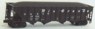 N Scale - Trainworx - 14019-6 - Open Hopper, 4-Bay Steel - Rio Grande - 16981