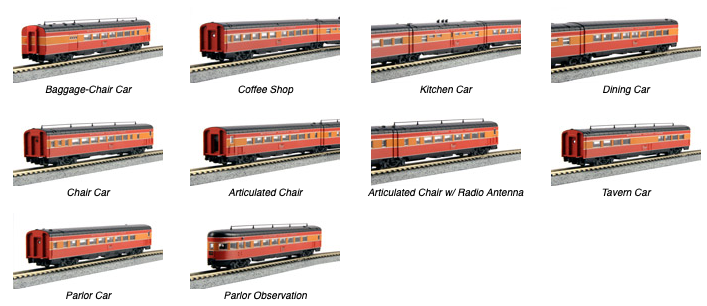 N Scale - Kato USA - 106-063-1 - SP Morning Daylight 10 Car Set with Interior Lights - Southern Pacific - 10-Pack