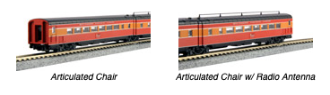 N Scale - Kato USA - 106-6310-1 - Articulated Chair Car with Interior Lights - Southern Pacific - 2-Pack