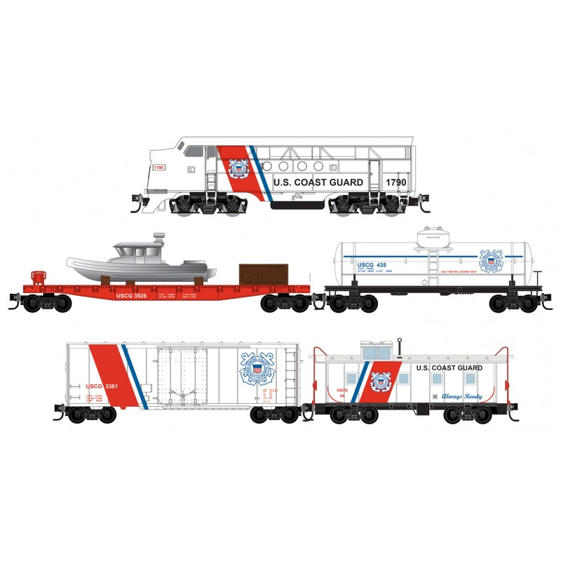 N Scale - Micro-Trains - 993 21 360 - Freight Train, Diesel, North American, Transition Era - United States Coast Guard - 5-Pack