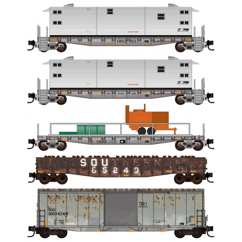N Scale - Micro-Trains - 993 02 200 - Freight Train, Diesel, North American, Transition Era - Norfolk Southern - 5-Pack
