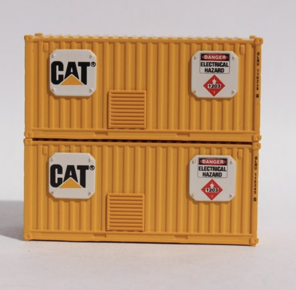 N Scale - Jacksonville Terminal - 205702 - Container, 20 Foot, Corrugated, Dry - Caterpillar - 2-Pack