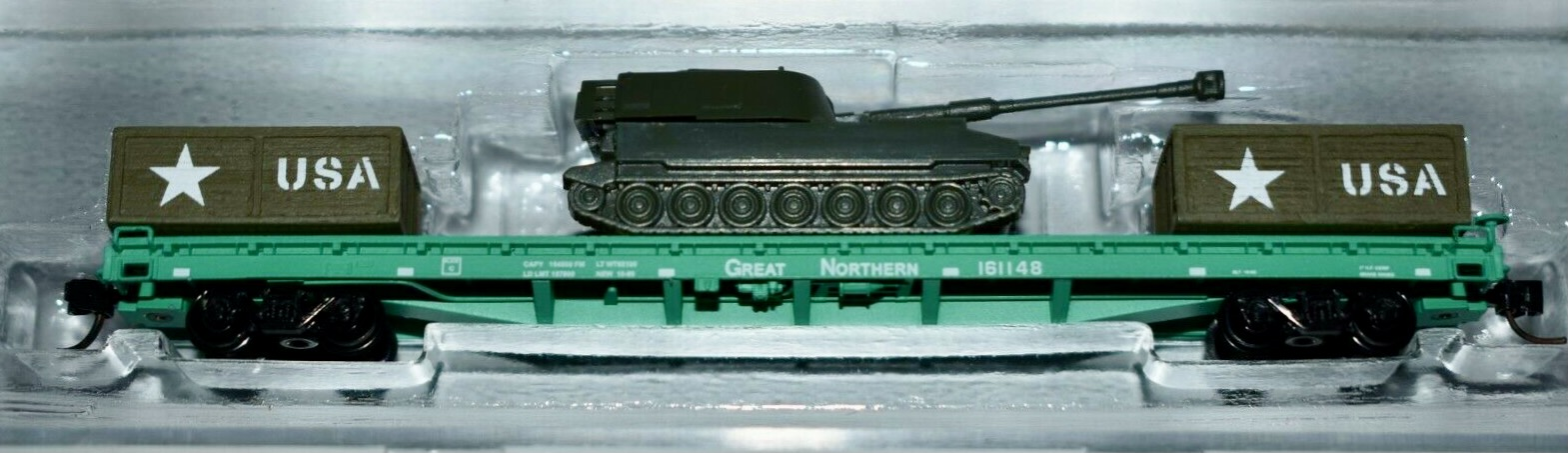 N Scale - InterMountain - NSE INT 12-73 - Flatcar, 60 Foot - Great Northern - 161148