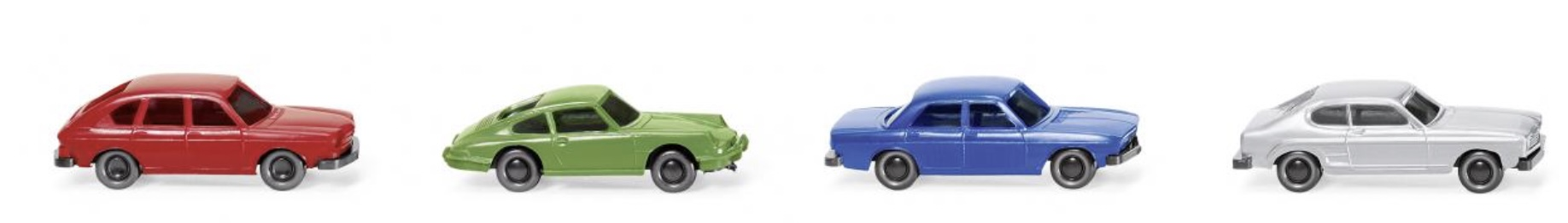 N Scale - Wiking - 091306 - Vehicle, Automobile - Painted/Unlettered - 4-Pack