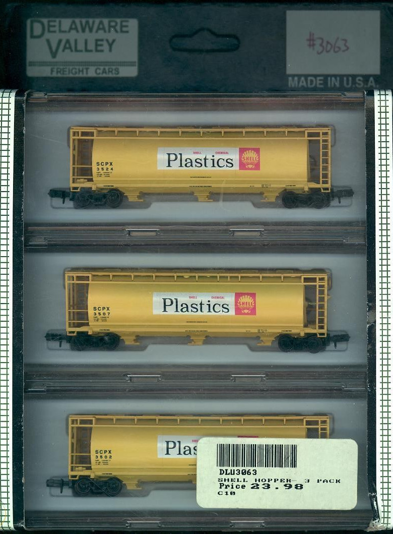 N Scale - Delaware Valley - 3063 - Covered Hopper, 3-Bay, Cylindrical - Shell Oil - 3-Pack