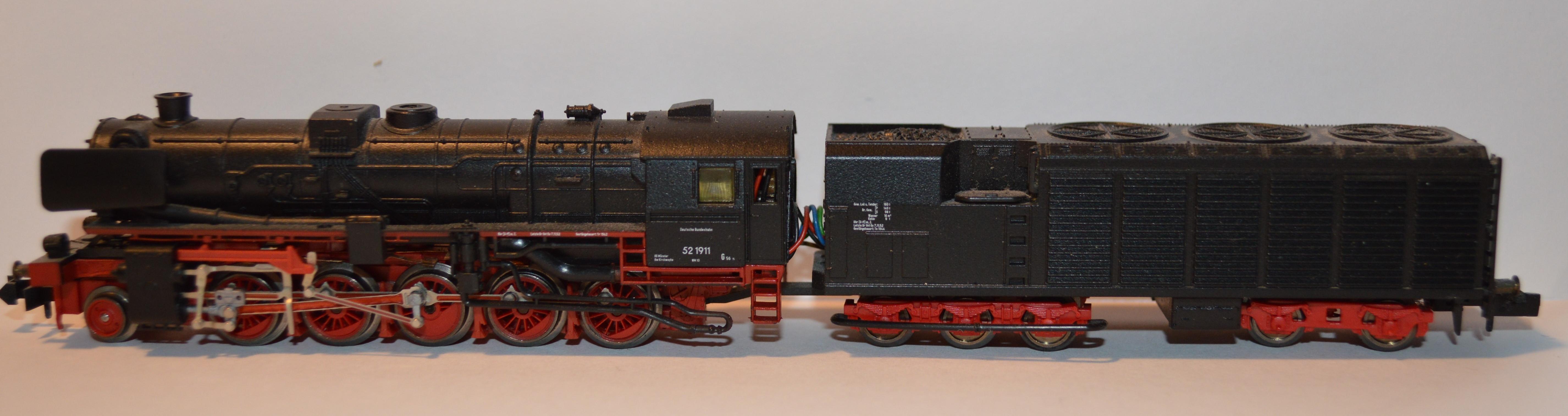 N Scale - Minitrix - 12616 - Locomotive, Steam, 2-10-0 DRB 52 - Deutsche Bundesbahn - 52 1911
