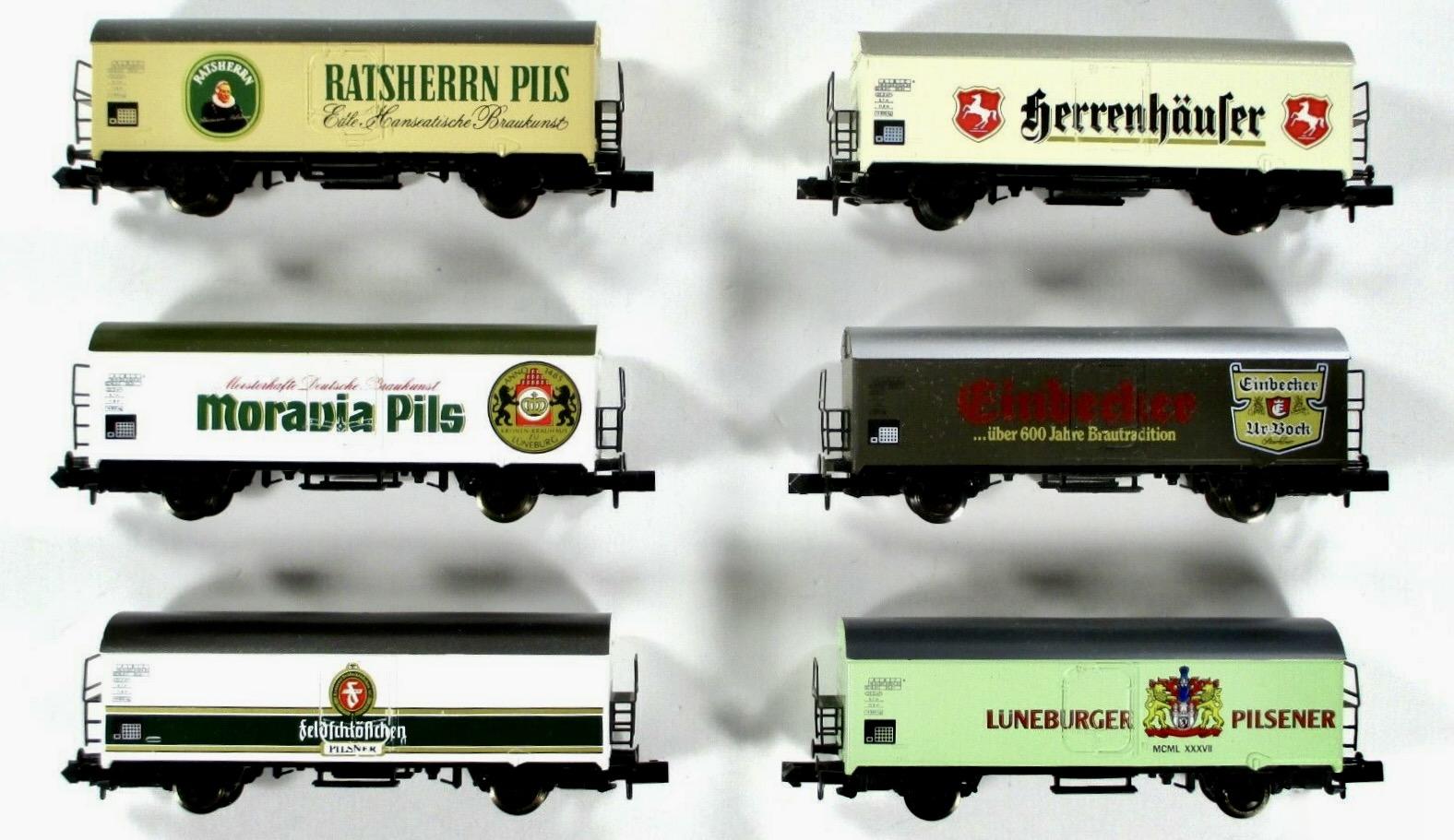 N Scale - Arnold - 0148 - Boxcar, 4-Wheel, Round Top 40 Foot - Deutsche Bahn - 6-Pack