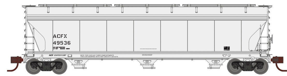 N Scale - Athearn - 8483 - Covered Hopper, 3-Bay, ACF 4600 - American Car & Foundry - 49597