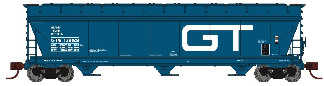 N Scale - Athearn - 8487 - Covered Hopper, 3-Bay, ACF 4600 - Grand Trunk Western - 3-Pack