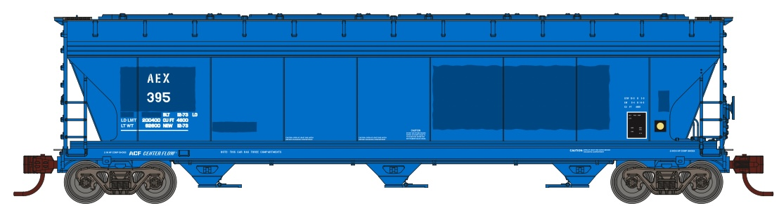 N Scale - Athearn - 8489 - Covered Hopper, 3-Bay, ACF 4600 - The Andersons - 395