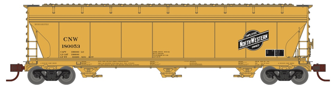 N Scale - Athearn - 8492 - Covered Hopper, 3-Bay, ACF 4600 - Chicago & North Western - 180312